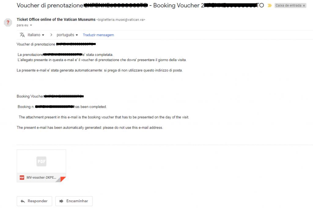 E-mail de confirmação da reserva