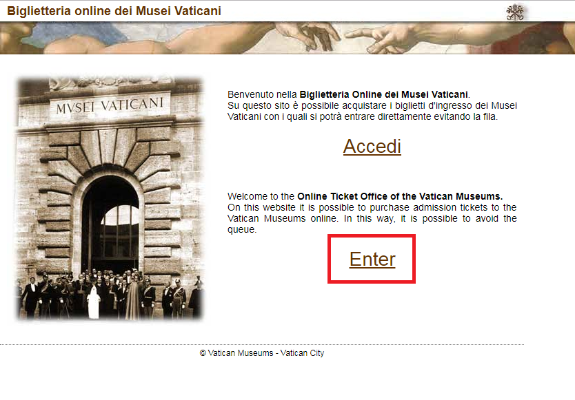 Página inicial do Site do Museu do Vaticano