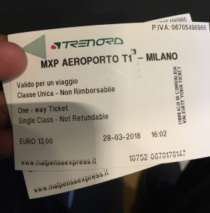 Ticket de Trem do Aeroporto Malpensa (MXP) para a estação Milano Centrale
