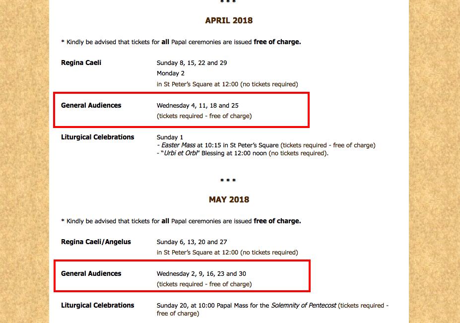 Calendário de audiências no site oficial do vaticano