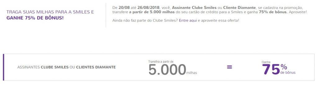 Exemplo de bônus de transferência do Clube Smiles