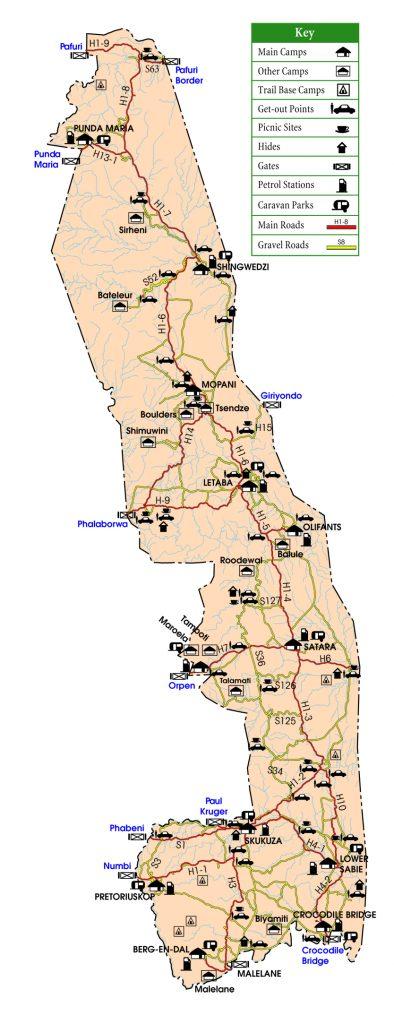 Mapa com a marcação dos Portões e Camps do Kruger