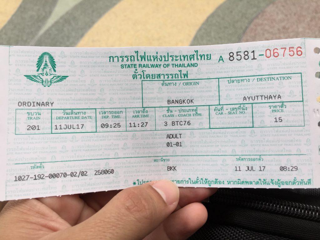 Ticket da terceira classe do trem comum