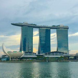 Hotel Marina Bay Sands visto do Merlion Park