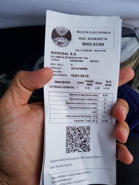 Ticket das Salineras de Maras