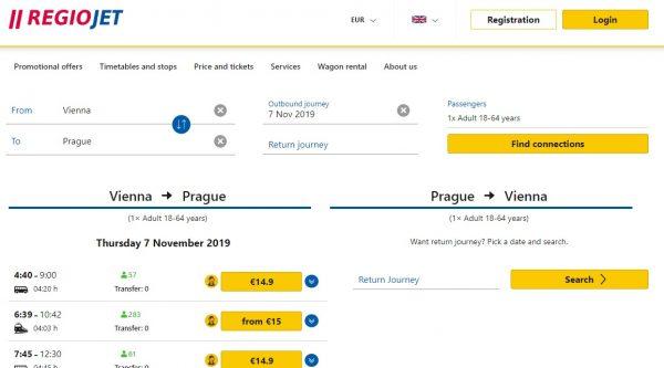 Preço do ônibus no trajeto Viena para Praga