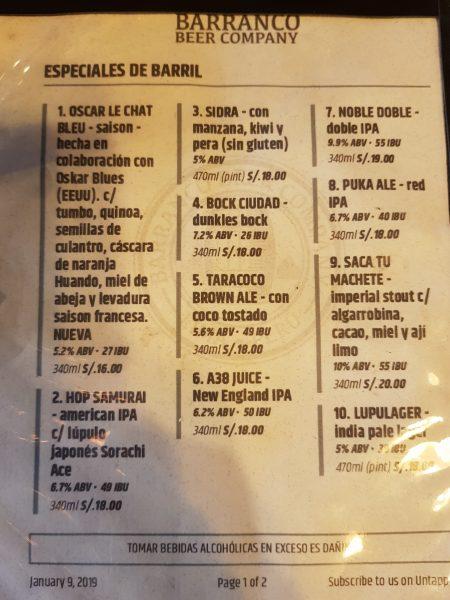 Cardápio de Cervejas Artesanais no Barranco Beer, em Lima