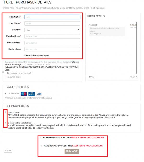 Dados pessoais e escolha da forma de pagamento e de impressão