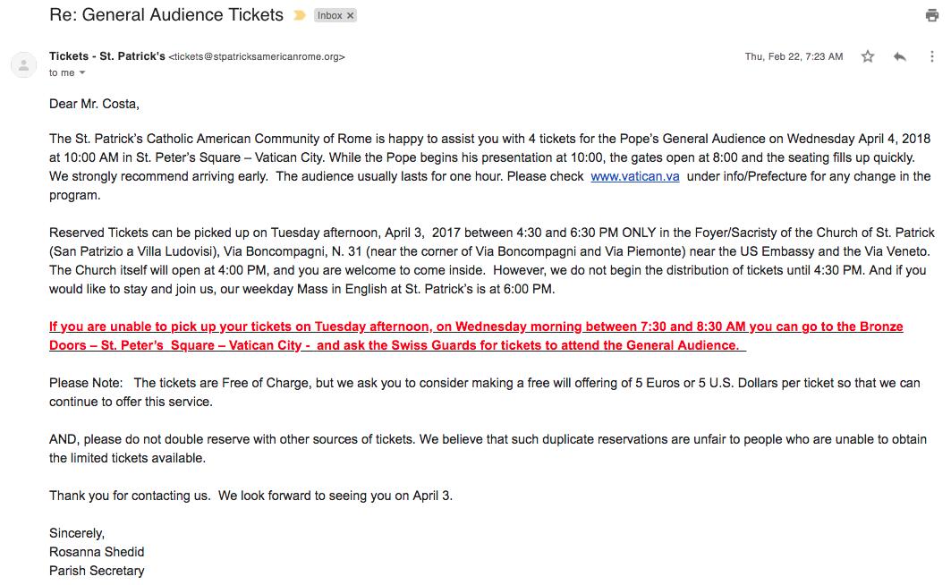 E-mail de confirmação da Igreja de Saint Patrick
