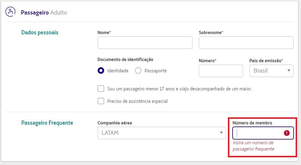 Exemplo de onde colocar o código do membro do Programa de Milhagem na compra da passagem na LaTam