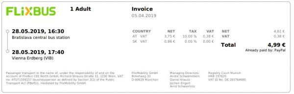 Passagem da Bratislava para Viena. Apenas 4,99 euros.
