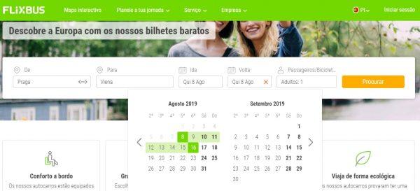 Página principal do FlixBus.
