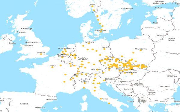 Mapa de rotas da Regiojet. Menos opções que a Flixbus.