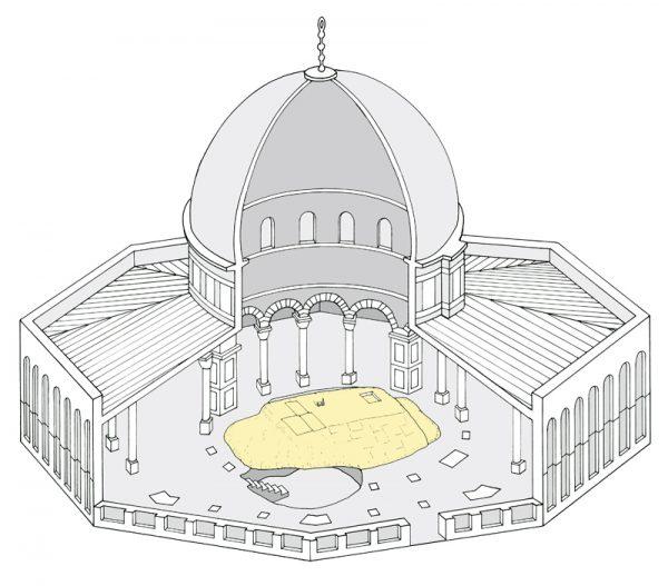 Desenho da estrutura do Domo da Rocha. Fonte: Ritmeyer.com